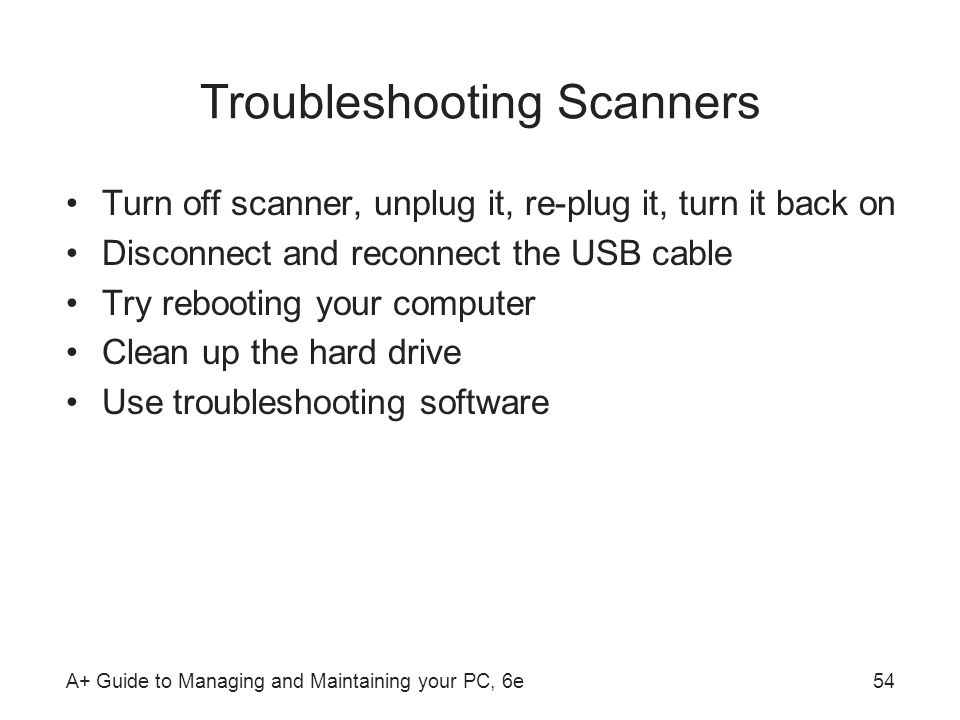 Troubleshooting Scanners