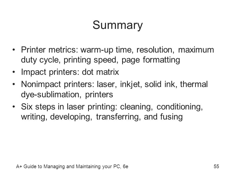 Summary Printer metrics: warm-up time, resolution, maximum duty cycle, printing speed, page formatting.