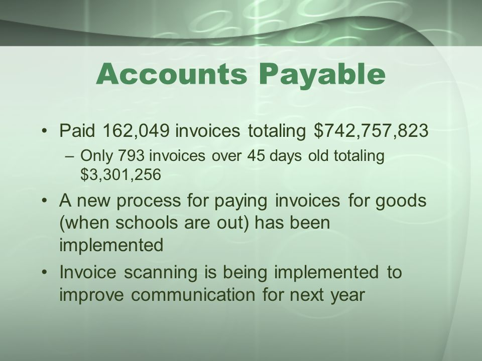 Accounts Payable Paid 162,049 invoices totaling $742,757,823