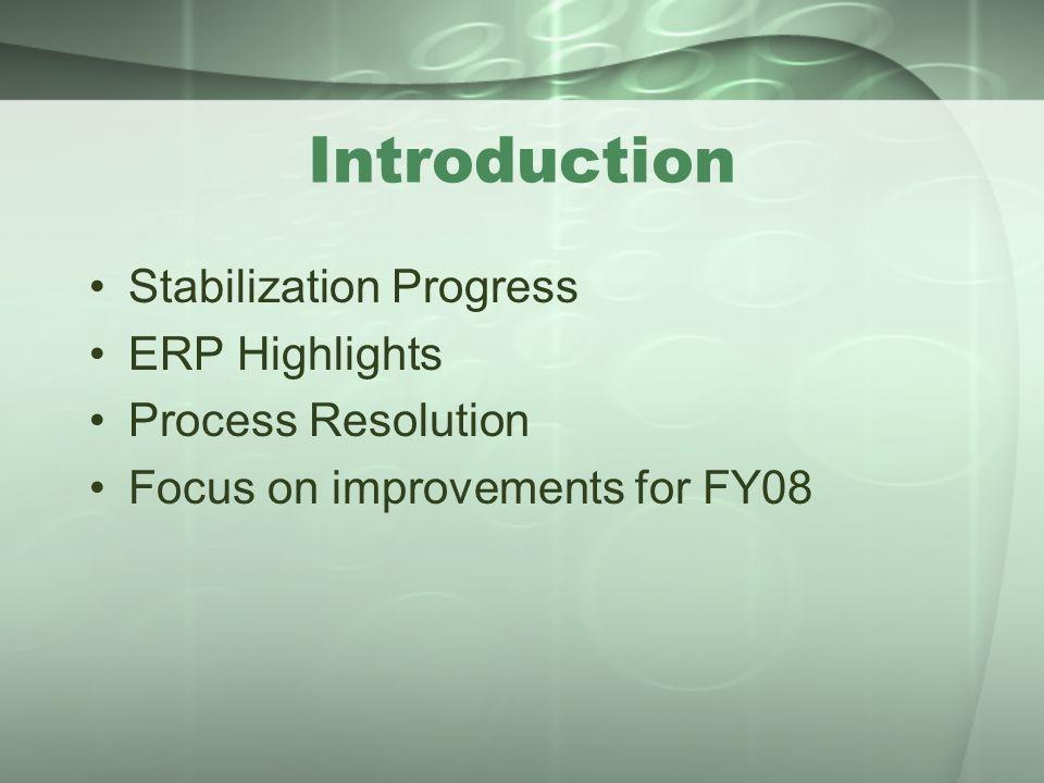 Introduction Stabilization Progress ERP Highlights Process Resolution