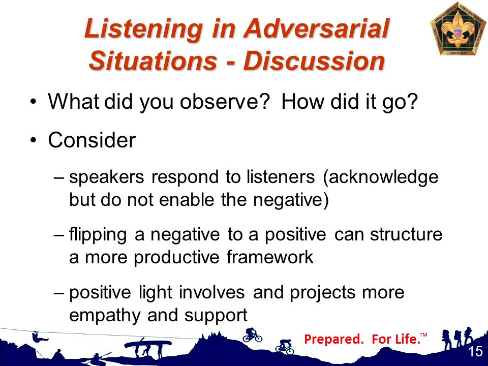 Listening in Adversarial Situations - Discussion