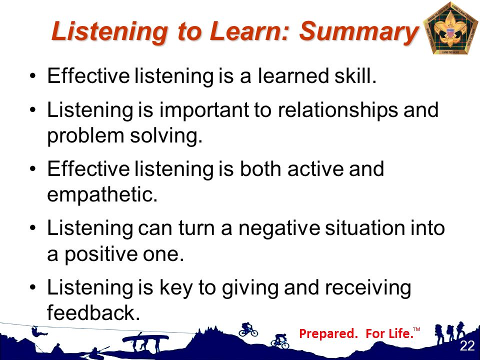 Listening to Learn: Summary