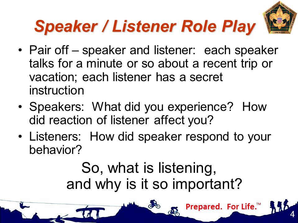 Speaker / Listener Role Play