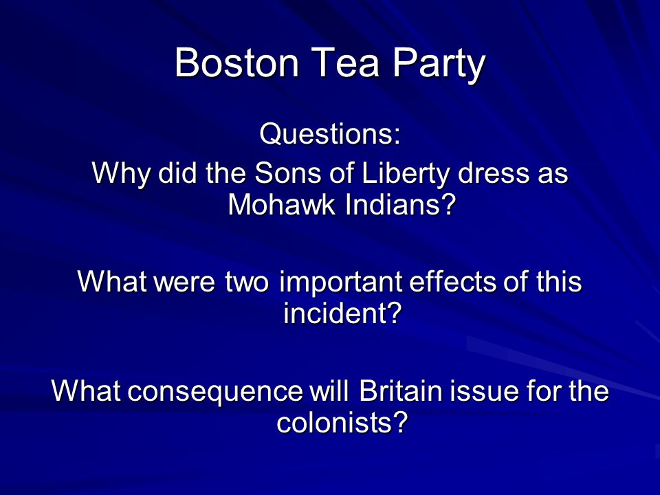 Boston Tea Party Questions: