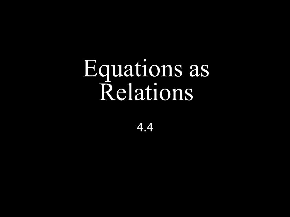 Equations as Relations