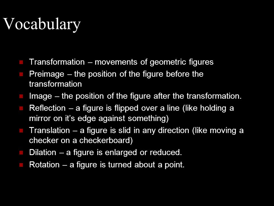 Vocabulary Transformation – movements of geometric figures