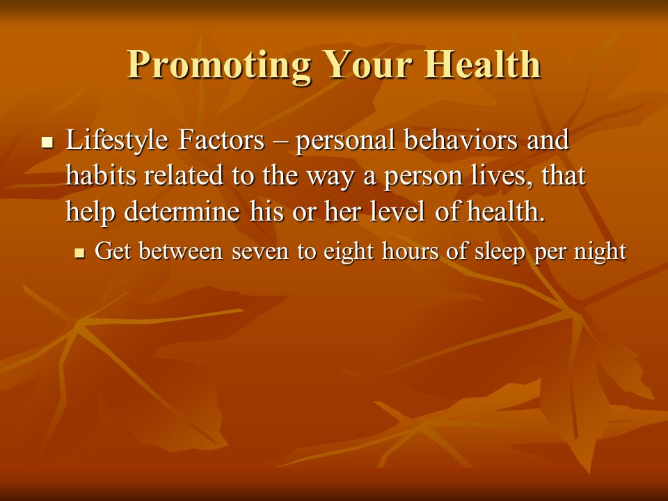 Promoting Your Health