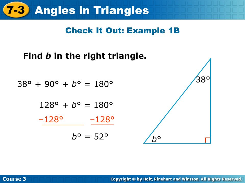 7-3 Angles in Triangles Check It Out: Example 1B
