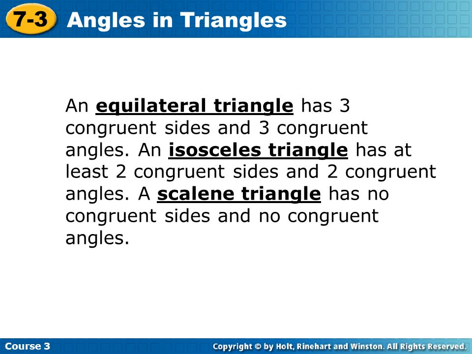 Course 3 7-3. Angles in Triangles.