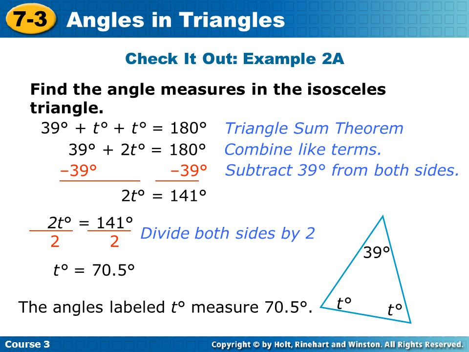 7-3 Angles in Triangles Check It Out: Example 2A