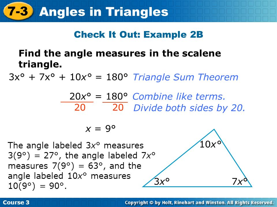 7-3 Angles in Triangles Check It Out: Example 2B