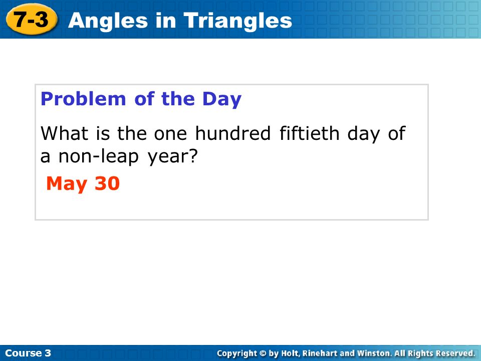 7-3 Angles in Triangles Problem of the Day