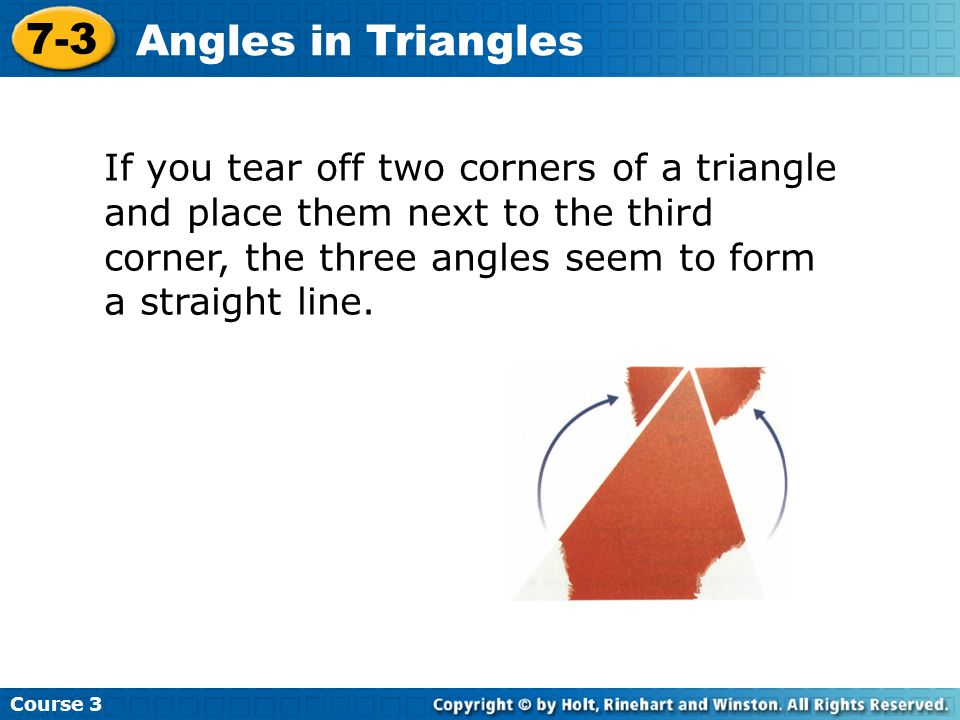 Course Angles in Triangles.