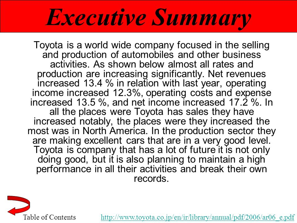 an introduction and a summary of toyota corporation An introduction and a summary of toyota corporation pages 9 words 5,223 view full essay more essays like this: automobile industry, toyota corporation, hybrid vehicles, standard gas vehicles not sure what i'd do without @kibin - alfredo alvarez, student @ miami university exactly what i needed - jenna kraig, student @ ucla.