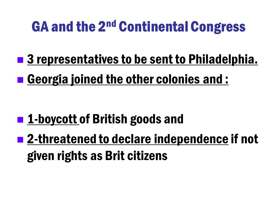 GA and the 2nd Continental Congress
