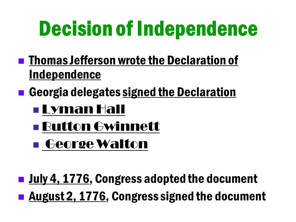 Decision of Independence