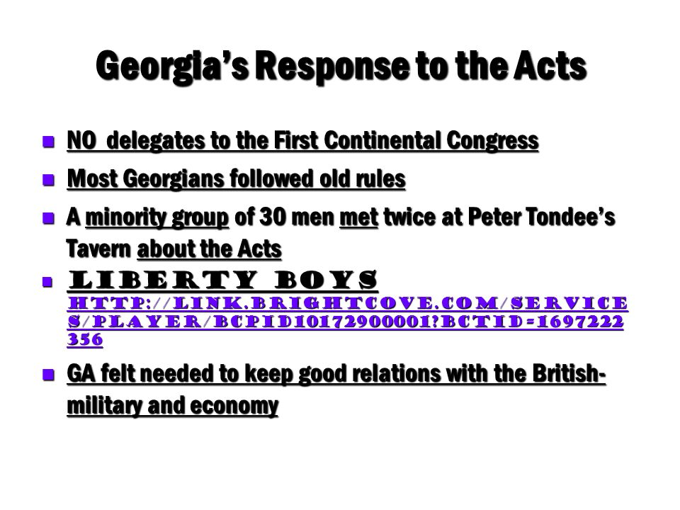 Georgia's Response to the Acts