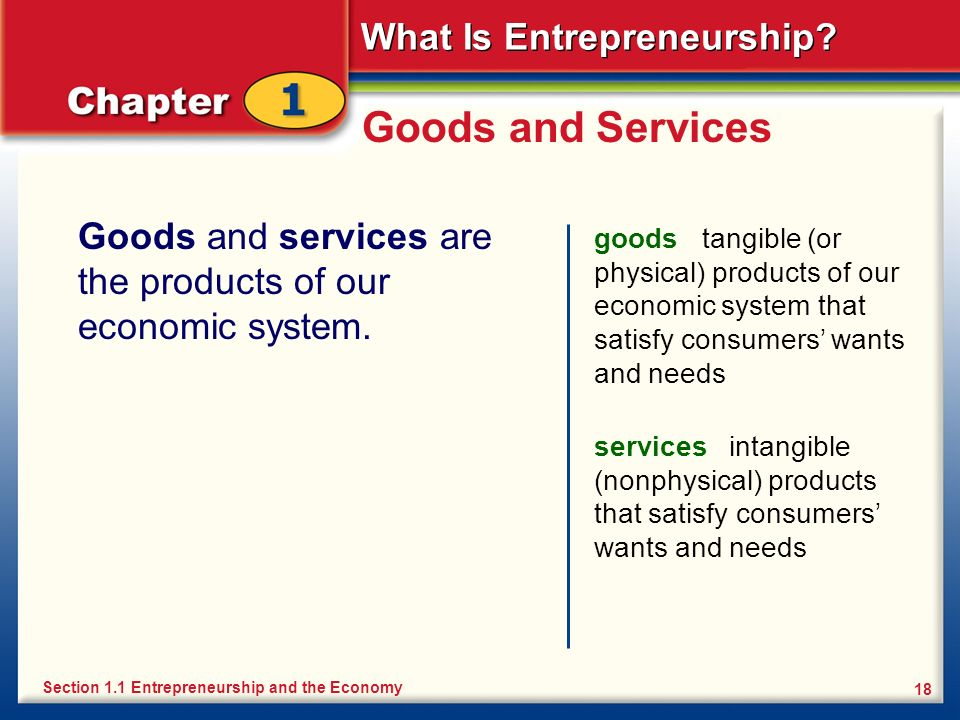 Goods and Services Goods and services are the products of our economic system.