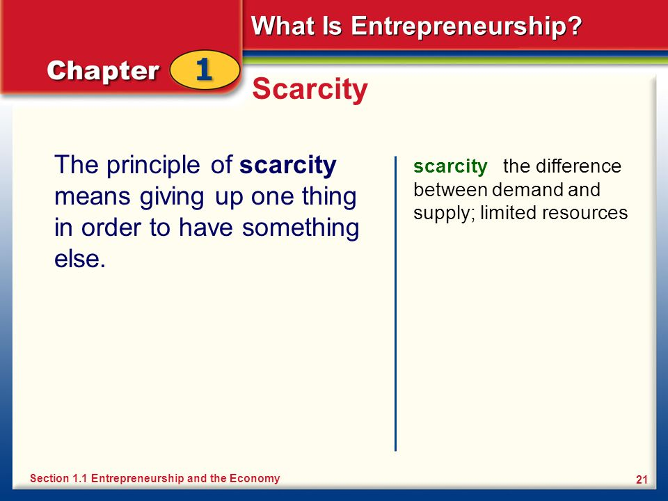 Scarcity The principle of scarcity means giving up one thing in order to have something else.