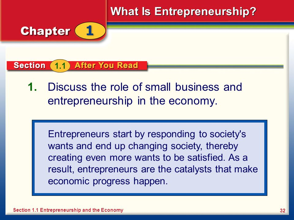 1.1 Discuss the role of small business and entrepreneurship in the economy.