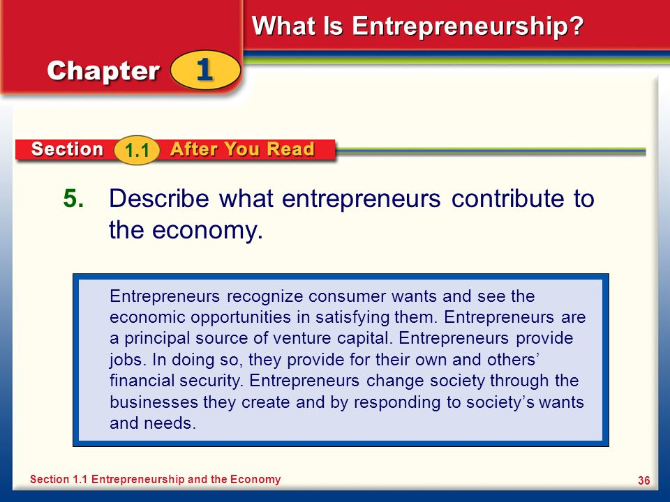 Describe what entrepreneurs contribute to the economy.