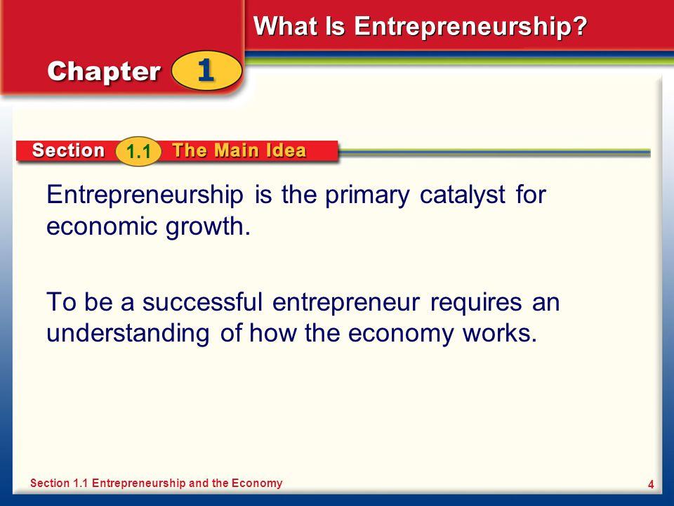 Entrepreneurship is the primary catalyst for economic growth.