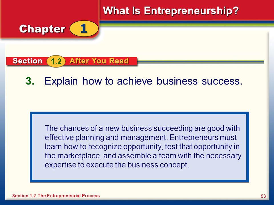 Explain how to achieve business success.