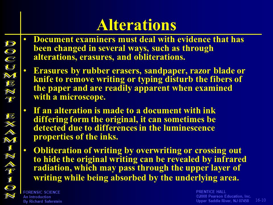 Alterations DOCUMENT EXAMINATION