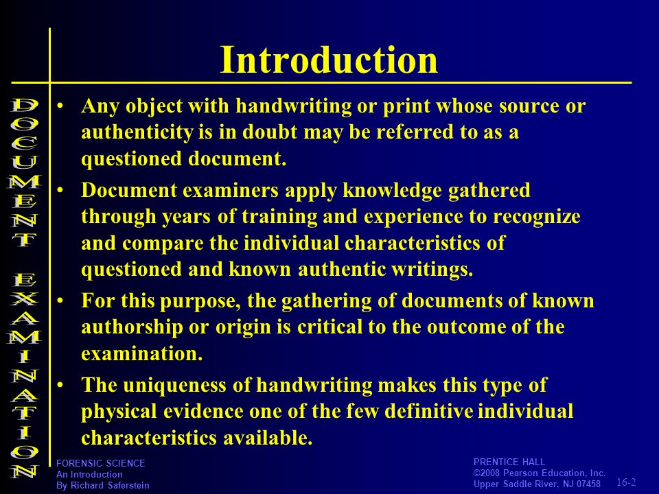 Introduction DOCUMENT EXAMINATION