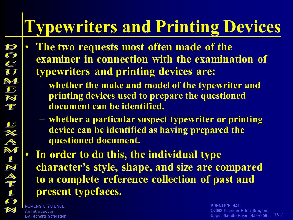 Typewriters and Printing Devices