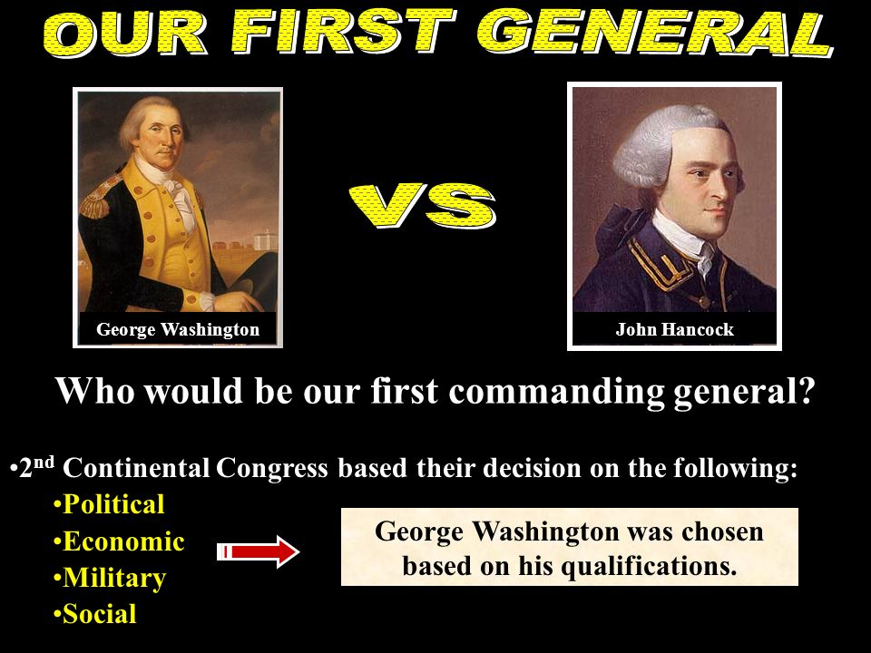 OUR FIRST GENERAL vs Who would be our first commanding general
