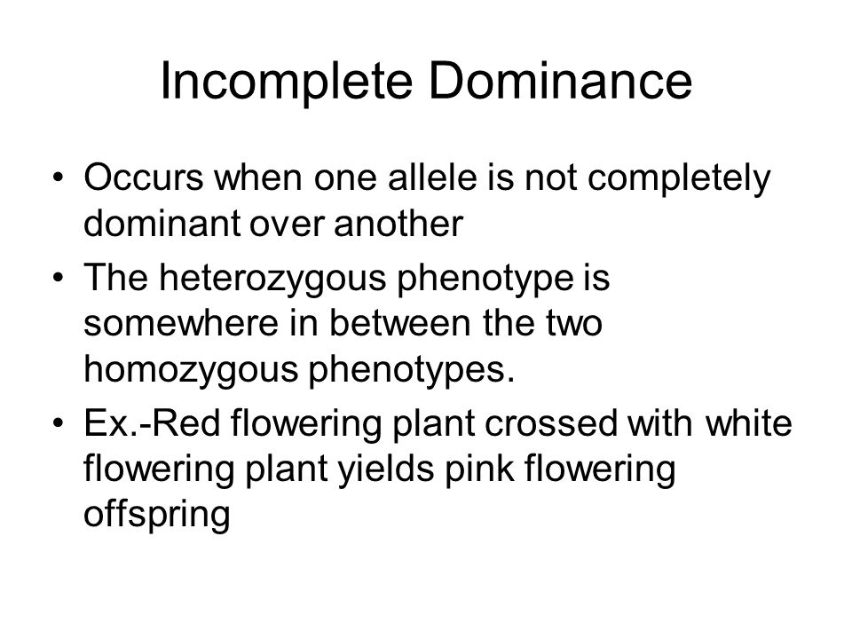 Incomplete Dominance Occurs when one allele is not completely dominant over another.
