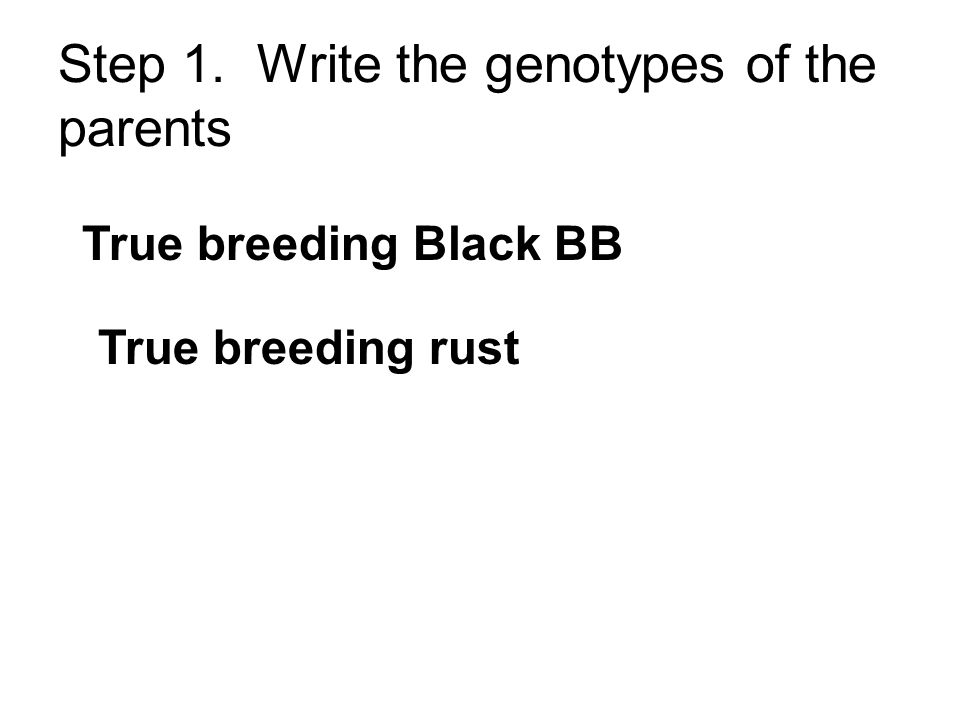 Step 1. Write the genotypes of the parents