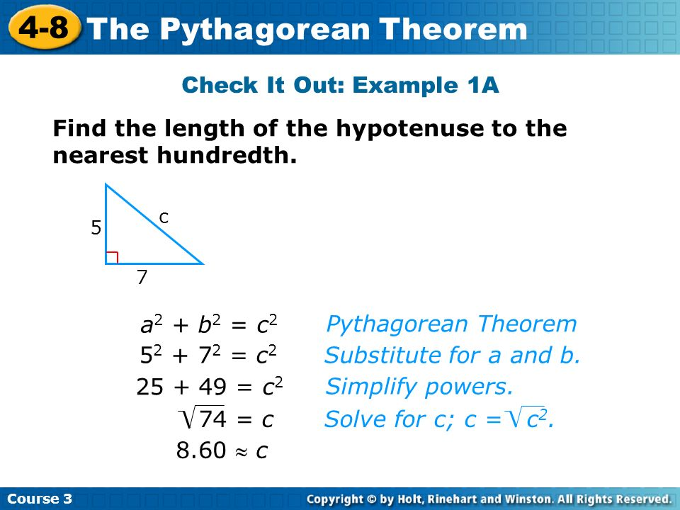 Find the length of the hypotenuse to the nearest hundredth.