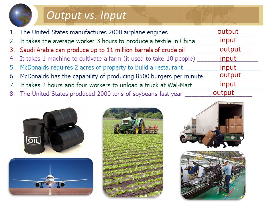 Output vs. Input output input output input input output input output
