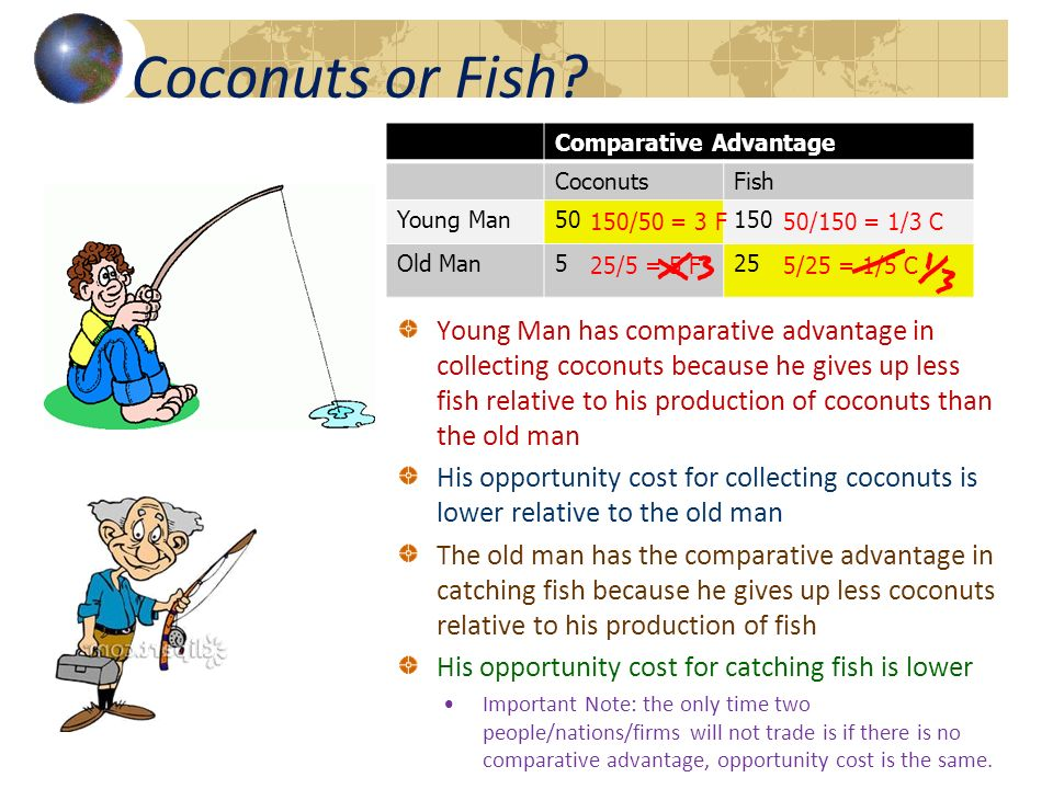 Coconuts or Fish Comparative Advantage. Coconuts. Fish. Young Man. 50. 150. Old Man. 5. 25.