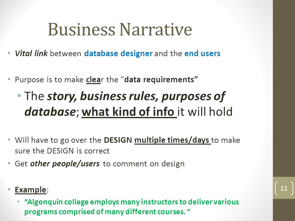 business narrative vital link between database designer and the end users purpose is to make - What Is Database Designer