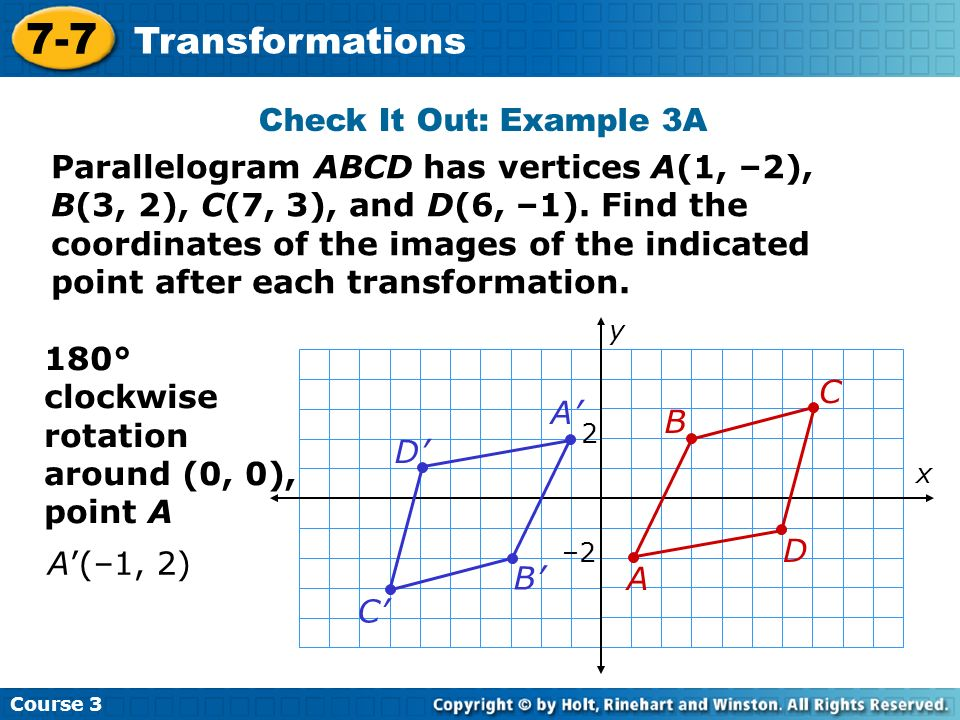 7-7 Transformations Check It Out: Example 3A