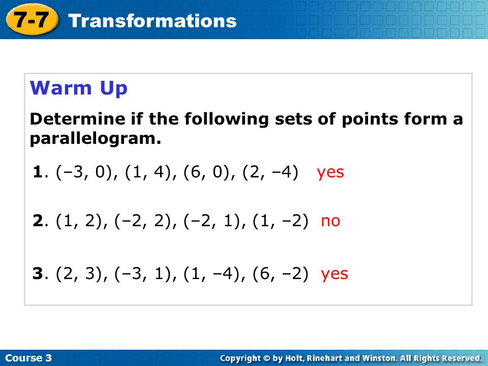 7-7 Transformations Warm Up