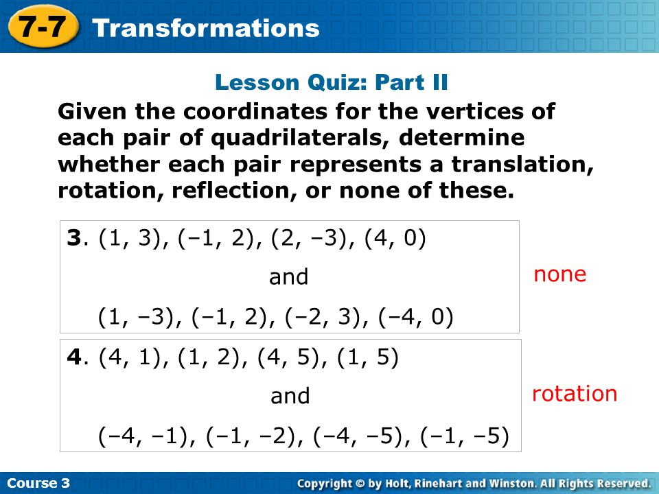 7-7 Transformations Lesson Quiz: Part II