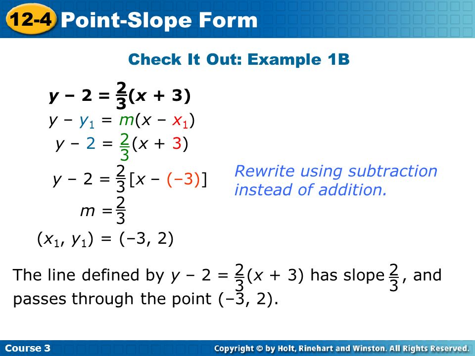 Point-Slope Form 12-4 Check It Out: Example 1B 2 3 y – 2 = (x + 3)