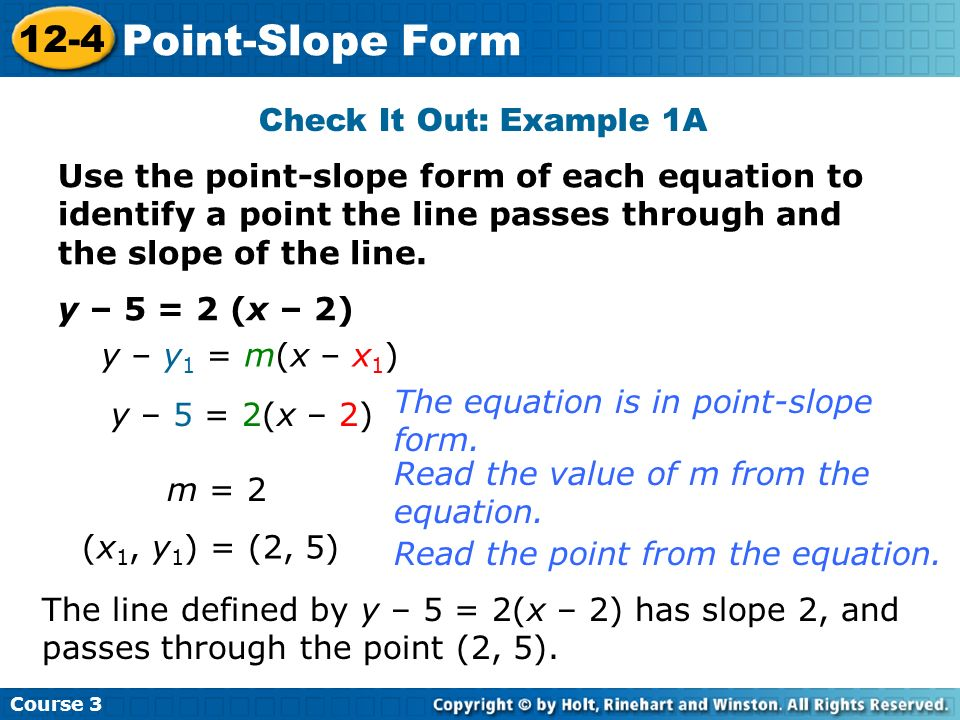 Point-Slope Form 12-4 Check It Out: Example 1A