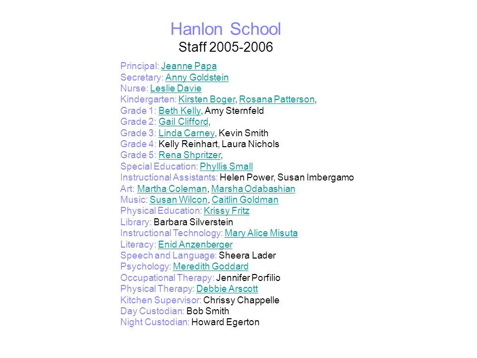 Hanlon School Staff 2005-2006