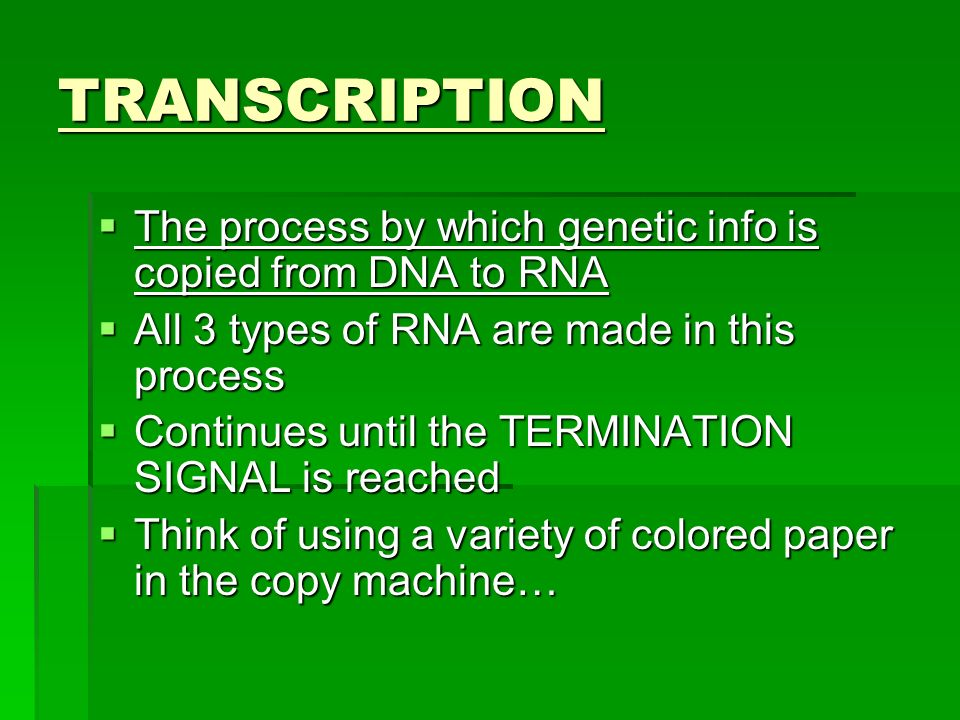 TRANSCRIPTION The process by which genetic info is copied from DNA to RNA. All 3 types of RNA are made in this process.