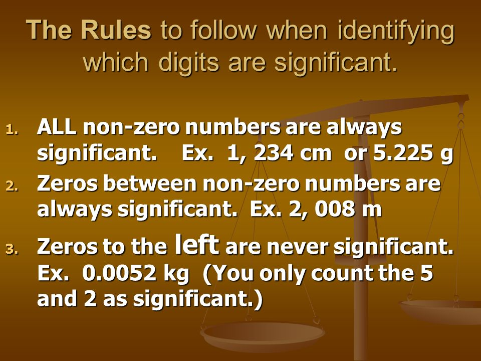 The Rules to follow when identifying which digits are significant.