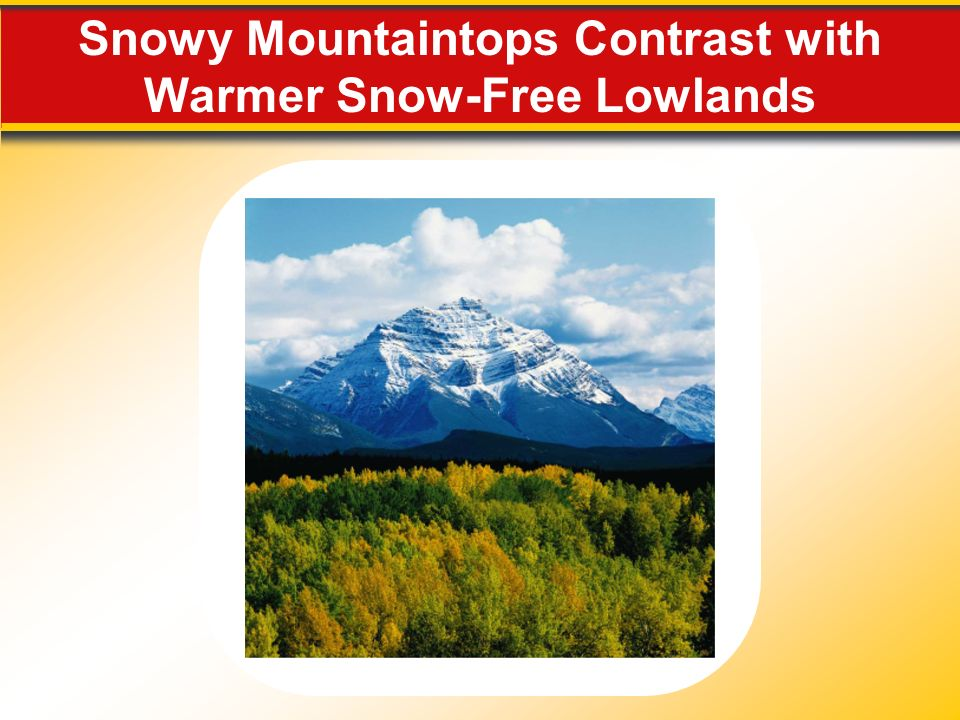 Snowy Mountaintops Contrast with Warmer Snow-Free Lowlands