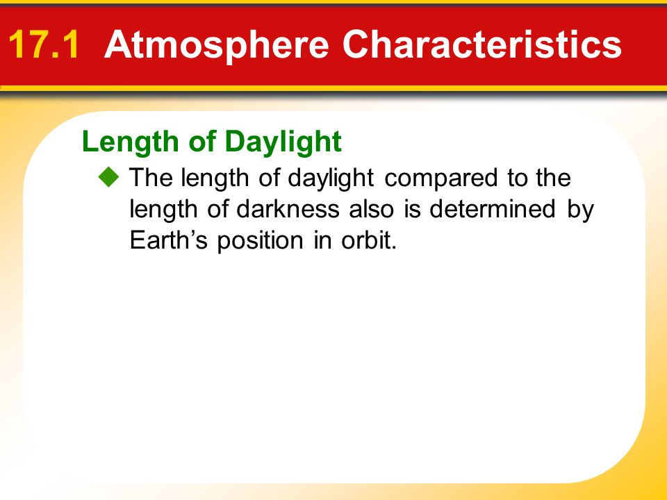 17.1 Atmosphere Characteristics