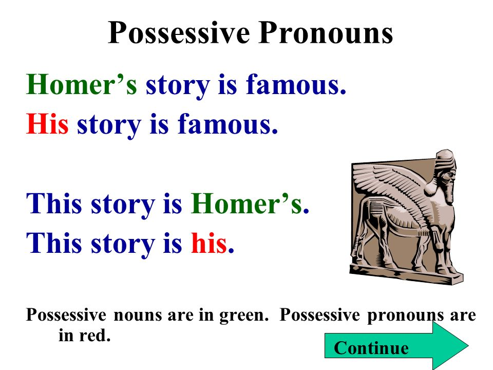 Possessive Pronouns Homer's story is famous. His story is famous.