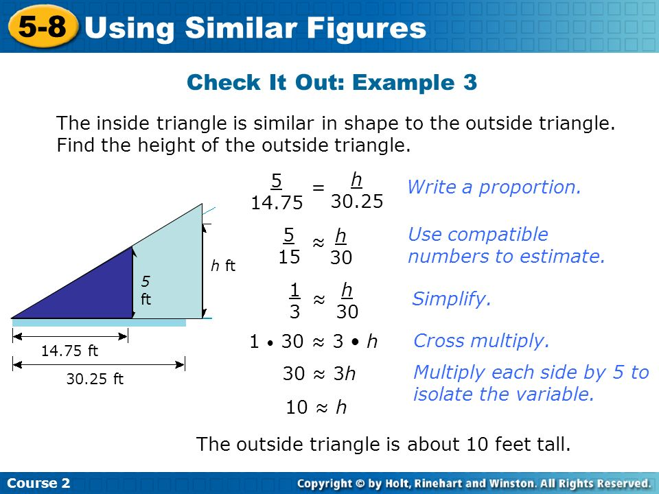 5-8 Using Similar Figures Check It Out: Example 3