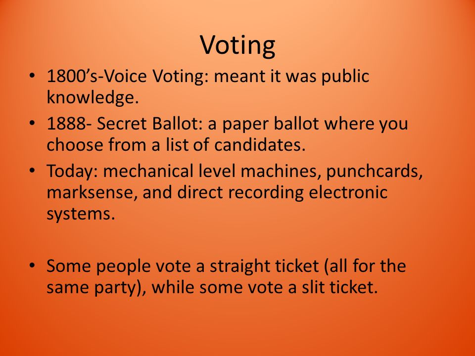 Voting 1800's-Voice Voting: meant it was public knowledge.